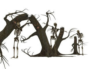 Scary tree with arms and skulls.