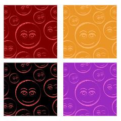 Flirty emoticons seamless pattern set