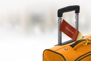 Slovenia. Orange suitcase with label at airport.