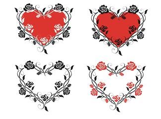 Винтажное сердце из роз