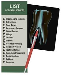 Llist of dental services
