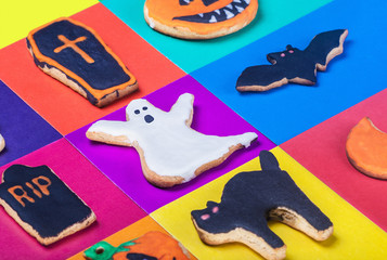 Halloween cookies on a colored background