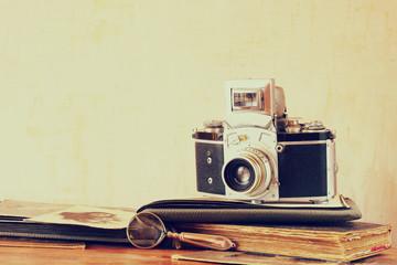 old camera, antique photographs