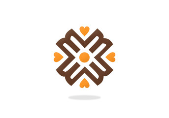 heart love decorative geometry vector logo