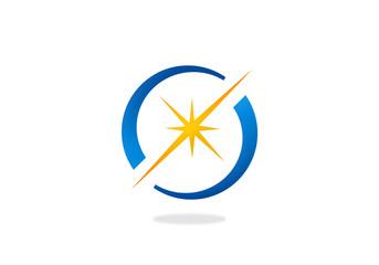 spark star shine circle vector logo