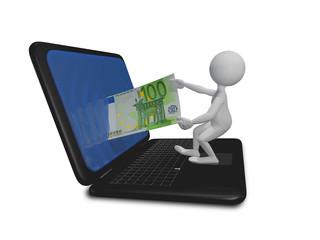 man laptop and euro