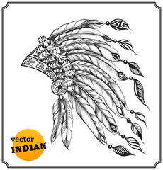 Indian chieftain headdress with feathers