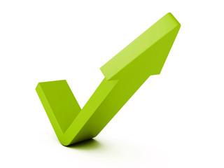 green check mark arrow on white background