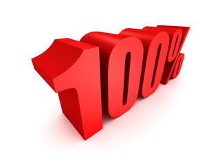 Red one hundred percent off symbol