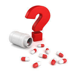 bottle for medical pill tablets with red question mark