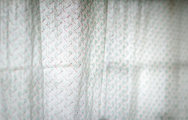 Translucent old white curtain.