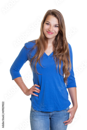 canvas print picture Blonde Frau mit blauem Shirt freut sich