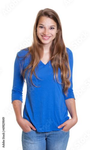 canvas print picture Blonde Frau mit blauem Shirt ist entspannt