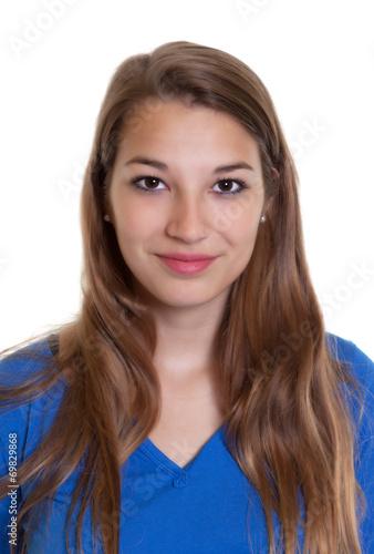 Leinwanddruck Bild Passbild einer blonden Frau im blauen Shitrt