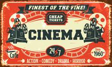Grunge affiche de cinéma rétro. Vector illustration.