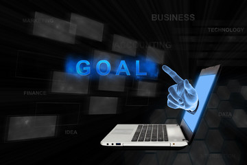pointing hand goal with digital background