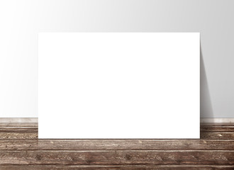 Blank white rectangle paper template banner on the wooden floor