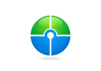 target round circle green blue logo