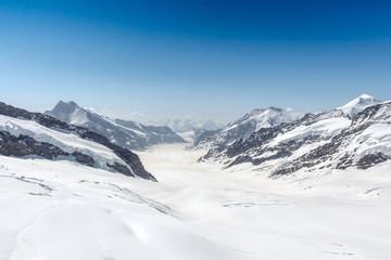 Aletsch Glacier in the Jungfraujoch, Alps, Switzerland