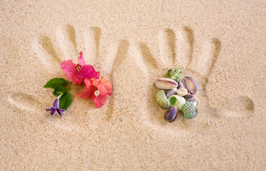 Hand Print on Sand with Flower and  Shells arrangement