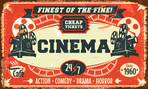 Grunge retro cinema poster. Vector illustration. © laralova
