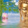 bouddha, bambou et lotus rose