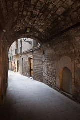 Arched Passage of Barri Gotic in Barcelona