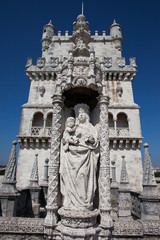 Statue of St. Mary and Child at Belem tower in Portugal