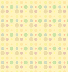 Color dot seamless repeat pattern on yellow background