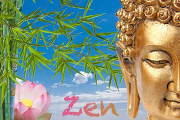 bouddha, bambou et lotus rose, thérapie, bien-être