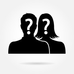 Male & female silhouette icon with question marks-couple concept