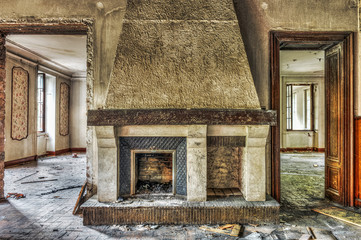 Fireplace in an abandoned manor