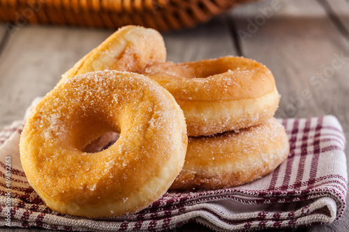 Breakfast with donuts and honey - 69832263