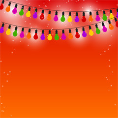 Garland of colored lights on red festive background. Vector illu