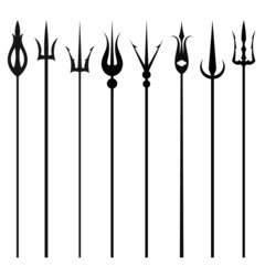 Tridents set isolated on a white background. Vector illustration