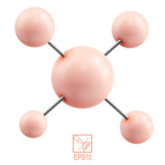 Orange molecule isolated on white background. Vector illustratio