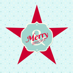 "christmas illustration with star and text ""merry and bright"""