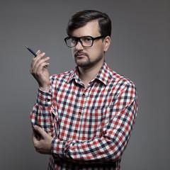 Handsome hipster modern man.