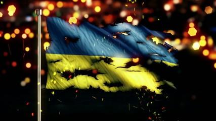 Ukraine Flag Torn Burned War Freedom Loop Animation