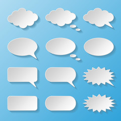 Set of paper speech bubbles
