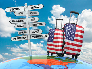 Travel concept. Suitcases and signpost what to visit in USA.
