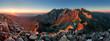 Leinwanddruck Bild - Mountain sunset panorama from peak - Slovakia Tatras