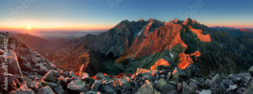 canvas print picture Mountain sunset panorama from peak - Slovakia Tatras