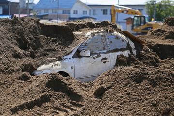 土砂崩れの現場