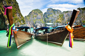 Thailand ocean landscape. Exotic beach view and traditional shi