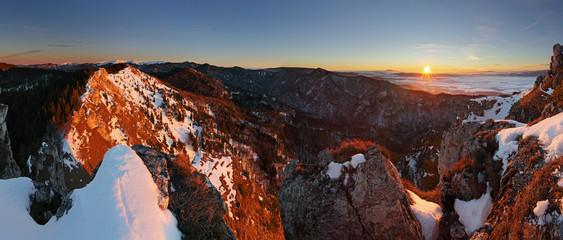 Panoramic mountain winter landscape, Slovakia