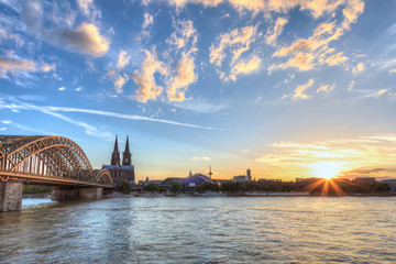 Cologne Cathedral and skyline when sunset, Germany