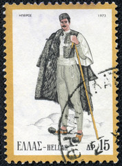 stamp printed in Greece shows a man from Epirus