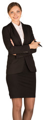 Beautiful girl in business suit holding pen