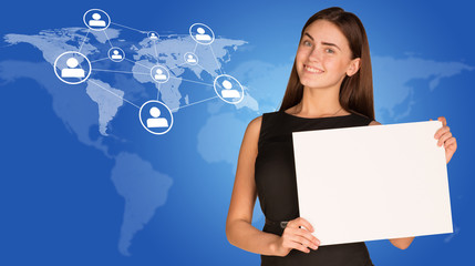 Businesswoman with world map, network and people icons
